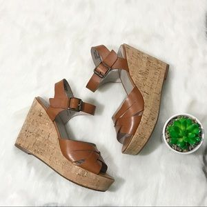 Hinge Nordstrom Leather Wedge Sandals Brown